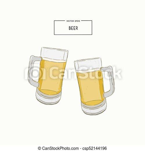 desenhar óculos cerveja vector mão desenhar trigo beer