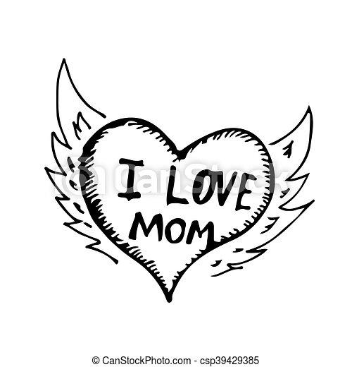 Desenhar Amor Doodle Ilustracao Mao Desenho Mae Icone