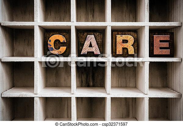 desenhar, conceito, letterpress, madeira, tipo, cuidado - csp32371597