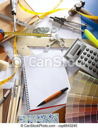 desenhista, caderno espiral, arquiteta, local trabalho, escrivaninha - csp6643245