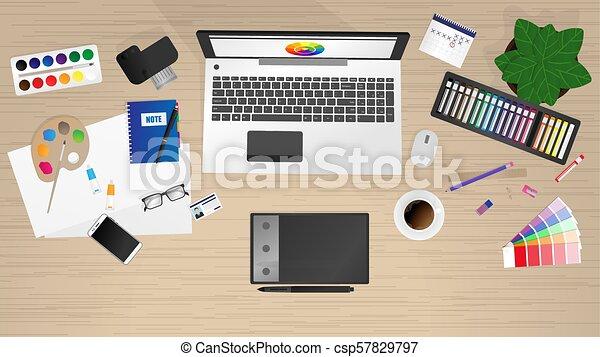 desenhista, local trabalho, trabalhador escritório - csp57829797