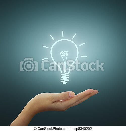 desenho, bulbo, luz, idéia, mão - csp8340202