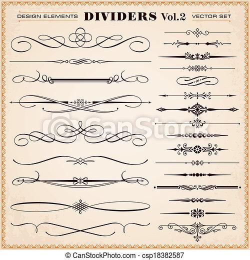 desenho, divisores, elementos, traços - csp18382587