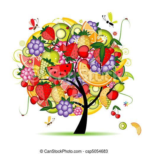 desenho, energia, árvore fruta, seu - csp5054683
