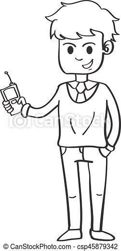 Desenho Estilo Personagem Pessoas Negócio
