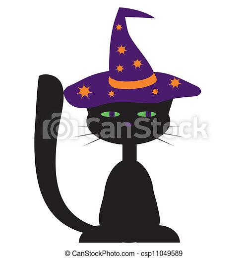 desenho, gato, dia das bruxas, pretas - csp11049589