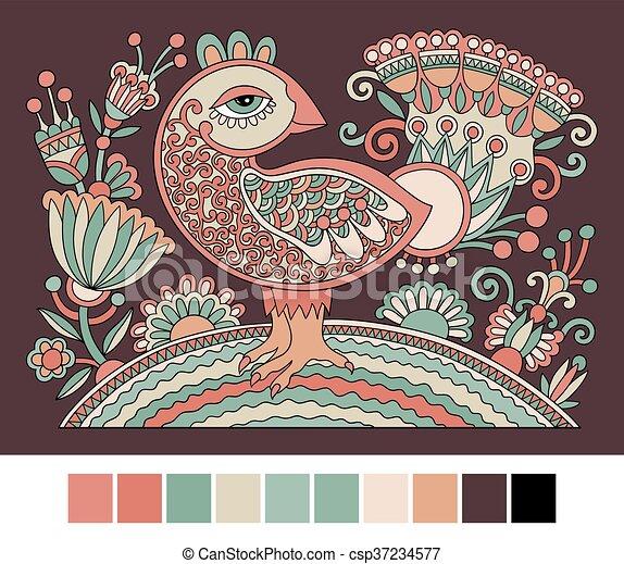 desenho, original, galinha, retro, ano, novo, 2017, símbolo, caricatura - csp37234577