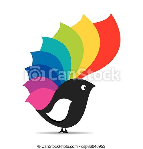 Desenho Passaro Coloridos Criativo Vetorial Desenho Asas