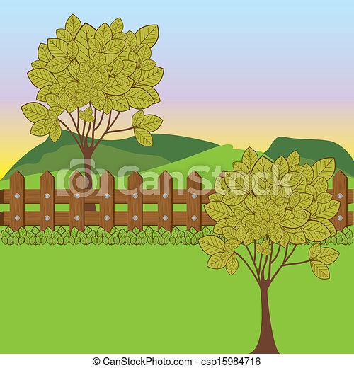 desenho, paisagem - csp15984716