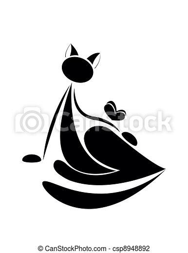 desenho, pretas, silueta, seu, gato - csp8948892