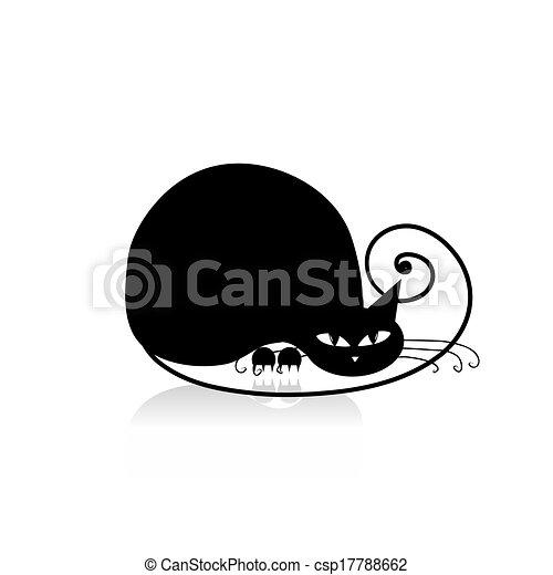 desenho, pretas, silueta, seu, gato - csp17788662