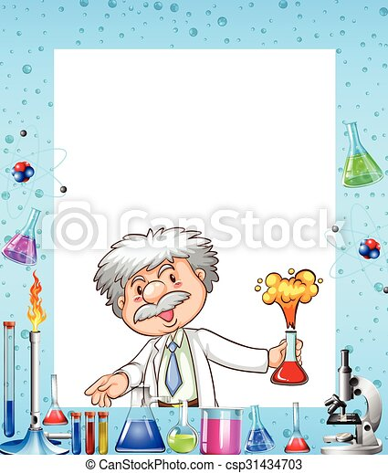 desenho químicos cientista borda ilustração