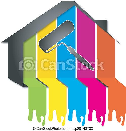 desenho, quadro, casas - csp20143733