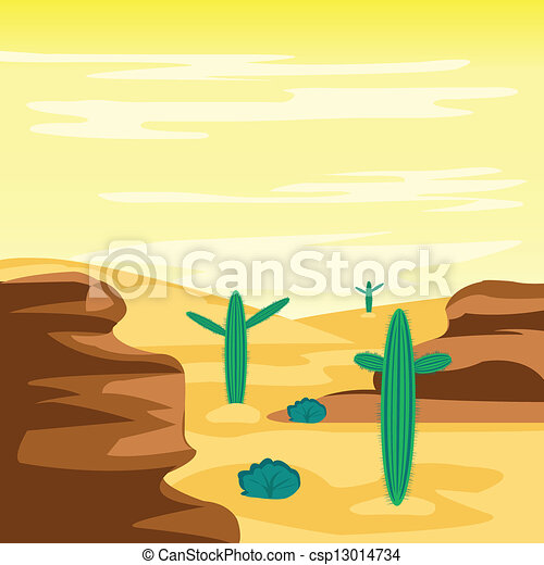 Desert and cactuses - csp13014734