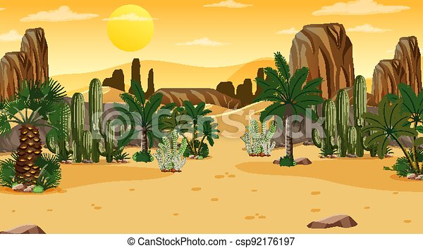Desert forest landscape at sunset scene with oasis - csp92176197