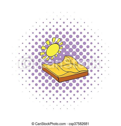 Desert landscape icon in comics style - csp37582681