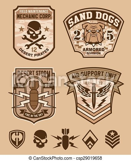 Desert military emblem patch set - csp29019658