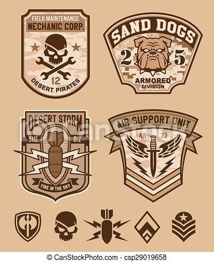 Desert military emblem patch set - csp29019658