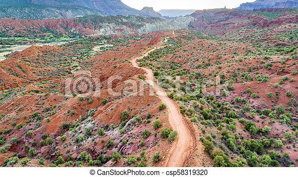 desert road - aerial view - csp58319320