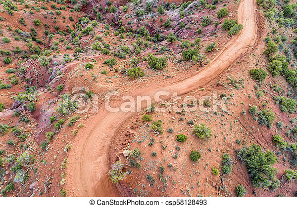 desert road - aerial view - csp58128493