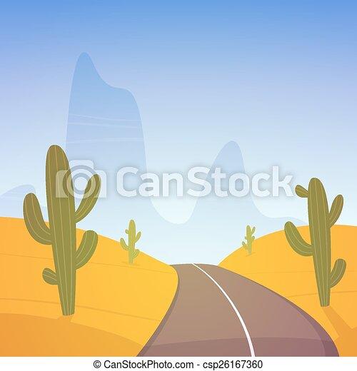 Desert Road Asphalt Road Over The Desert With Mountain In