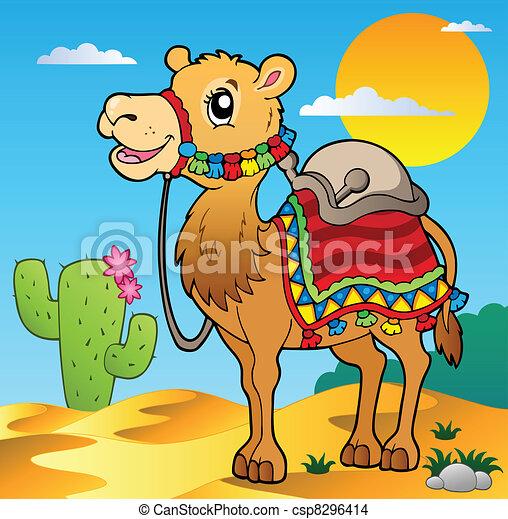 Desert scene with camel - csp8296414