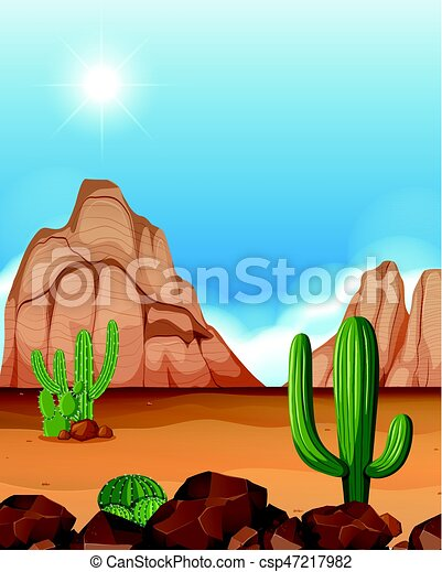 desert scene with mountains and cactus illustration