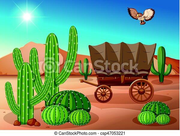 desert scene with wagon and cactus illustration