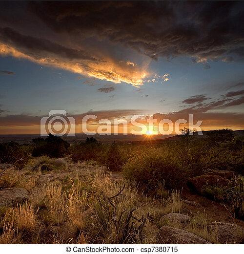 Desert Sunset in Albuquerque, New Mexico - csp7380715