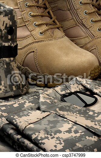 desert tactical boots and military tag chains  - csp3747999