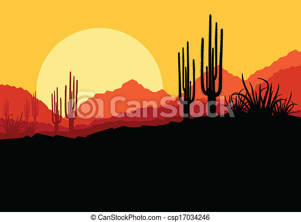 Desert wild nature landscape with cactus and palm tree plants illustration background vector - csp17034246