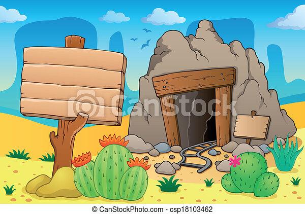 Desert with old mine theme 7 - csp18103462