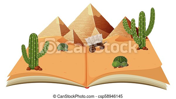 Desert with pyraminds in a book - csp58946145