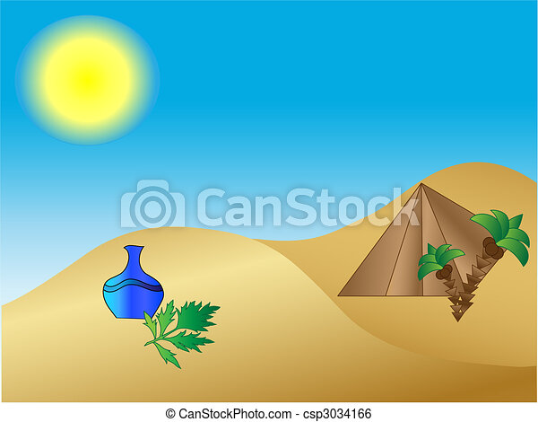 desert with vase, pyramid and palms - csp3034166