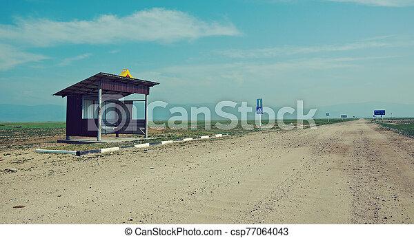 Deserted bus stop - csp77064043