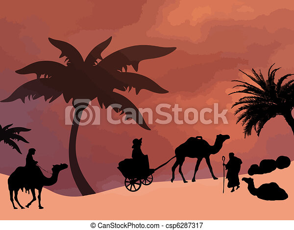 deserto, sahara, oasi - csp6287317