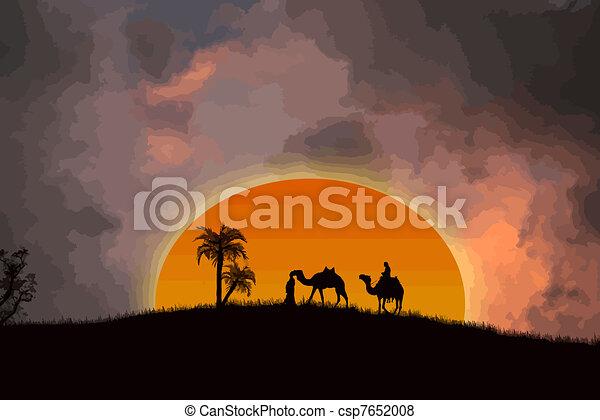 deserto, tramonto, sahara - csp7652008