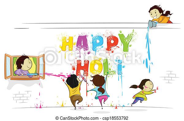 desfrutando, holi, crianças - csp18553792