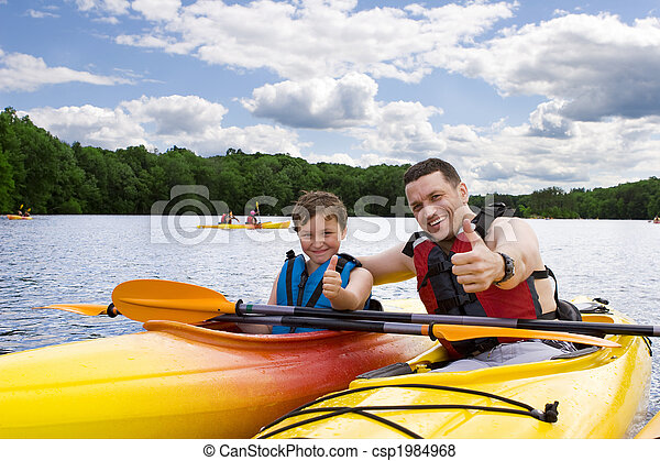 desfrutando, kayaking, pai, filho - csp1984968
