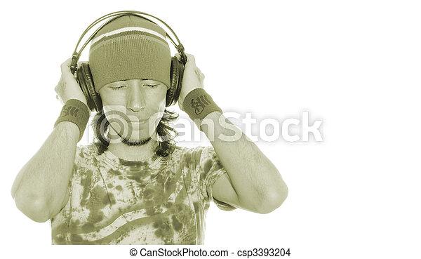desfrutando, seu, música - csp3393204