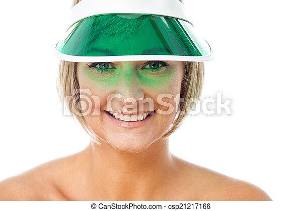 desgastar, boné, senhora, atraente - csp21217166
