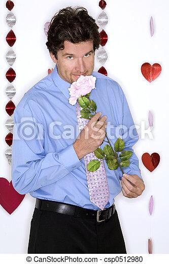 desgastar, camisa azul, valentines, atraente, dia, homem - csp0512980