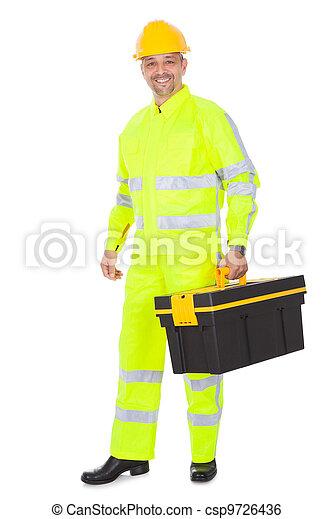 desgastar, casaco, segurança, trabalhador, retrato - csp9726436