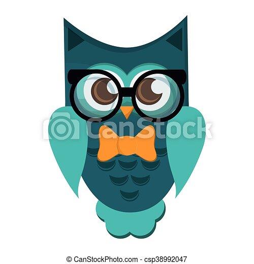 Desgastar Coruja Oculos Caricatura Icone Desgastar