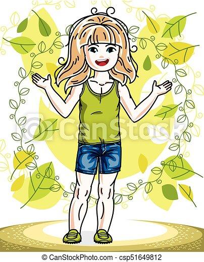 desgastar, cute, menininha, na moda, primavera, character., clothes., vetorial, posar, fundo, loiro, casual, paisagem, feliz - csp51649812
