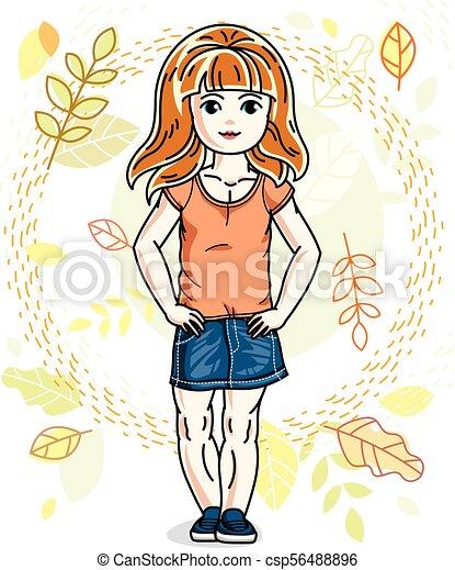 desgastar, cute, pequeno, na moda, vermelho-haired, character., clothes., outono, vetorial, posar, fundo, menina, casual, paisagem, feliz - csp56488896
