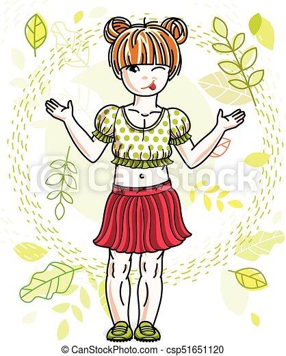 desgastar, cute, pequeno, na moda, vermelho-haired, primavera, character., clothes., vetorial, posar, fundo, menina, casual, paisagem, feliz - csp51651120