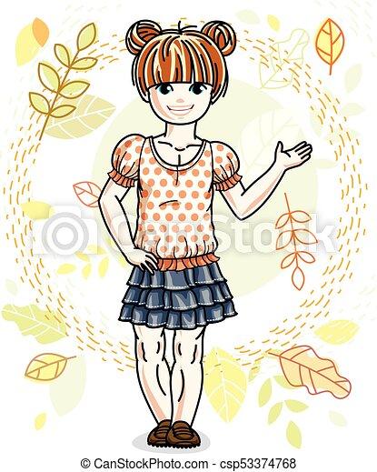 desgastar, cute, pequeno, na moda, vermelho-haired, character., clothes., outono, vetorial, posar, fundo, menina, casual, paisagem, feliz - csp53374768