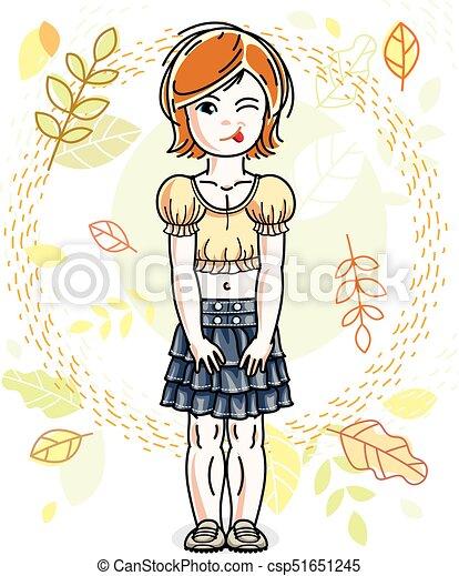 desgastar, cute, pequeno, na moda, vermelho-haired, character., clothes., outono, vetorial, posar, fundo, menina, casual, paisagem, feliz - csp51651245