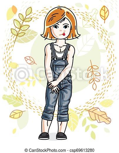 desgastar, cute, pequeno, na moda, vermelho-haired, character., clothes., outono, vetorial, posar, fundo, menina, casual, paisagem, feliz - csp69613280